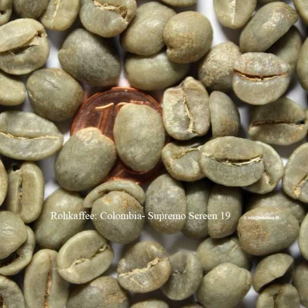 Colombia - Supremo Screen 19 +, Rohkaffee zum Üben beim Kaffeerösten zu Hause